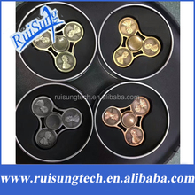 US Dollar Penny Fidget Hand Spinners Decorate Coins Beyblade Metal Brass Hand Spinner For Autism Anti Stress Adults Toys