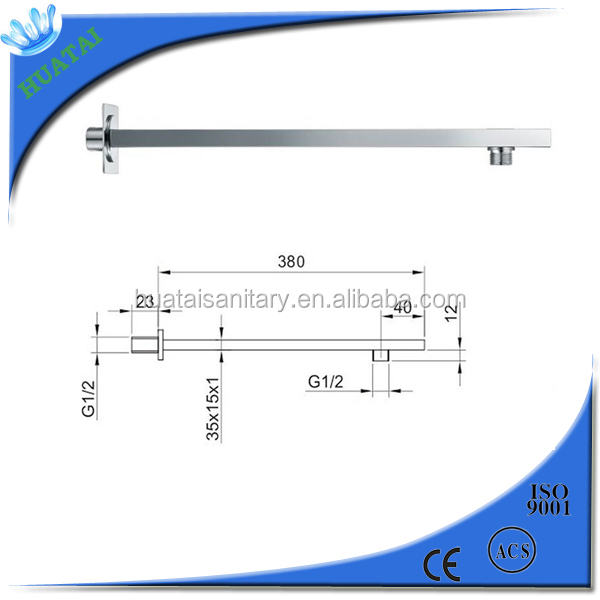 wenzhou sanitary fittings rainshower square 201 stainless steel Shower Arm 38cm with Flange and 1/2 Threaded Connection