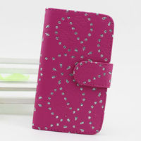 bling snowflake flower leather flip cover for samsung galaxy s2 hard case