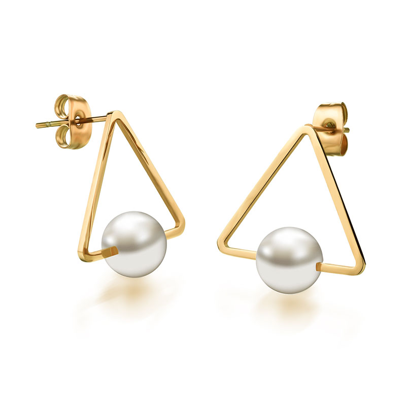 JT310E Women New Summer Style Stainless Steel Pearl Jewelry Bijoux Brincos Wholesale Triangle Stud Earrings