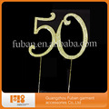 High quality rhinestone funny wedding cake topper for numble 50/monogram wedding cake topper