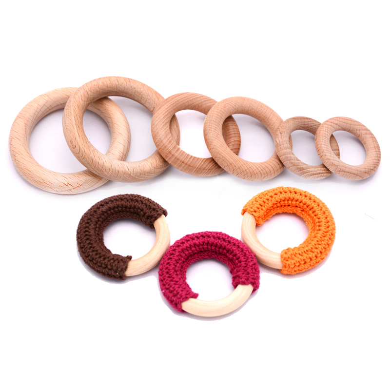 Wholesale Large Bulk Round Crochet Wood Ring Natural Baby Chew Teething Wooden Teether