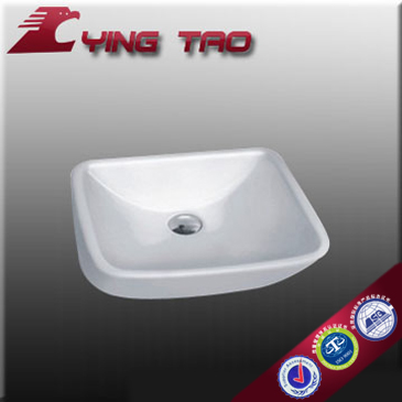 Guangdong factory bathroom ceramic wash basin white unique china cabinet sanitary ware counter top sink