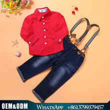 Ropa al por mayor niños moda occidental primavera Boy camisa roja + correas <span class=keywords><strong>jeans</strong></span> 2 unids bebé arropan los sistemas