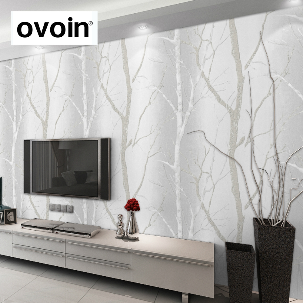 Embossed 3D Effect Black White Birch Tree Mural Wallpaper For <strong>Walls</strong>