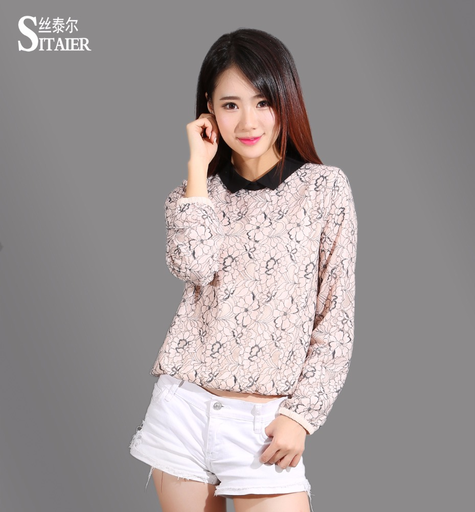 2016 New Women Blouses Chiffon lining Long Sleeve Pink/black Dichromatic Lace Shirt