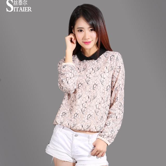 2018 New Women Blouses Chiffon lining Long Sleeve Pink/black Dichromatic Lace Shirt