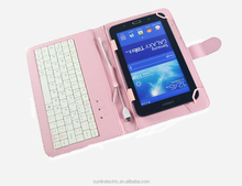 "7"" Leather Case Mini USB Keyboard Stylus leather tablet case for ipad Tablet PC PDA UMPCase"