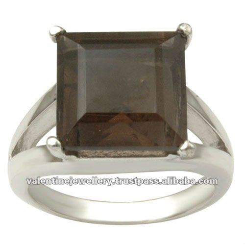 smoky rings, square stone sterling silver ring wholesale, big genuine gemstone ring,