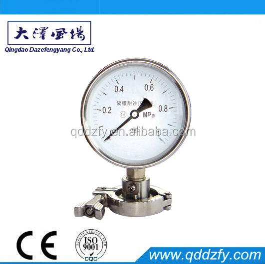 Sanitary Bourdon tube pressure gauge with clamp