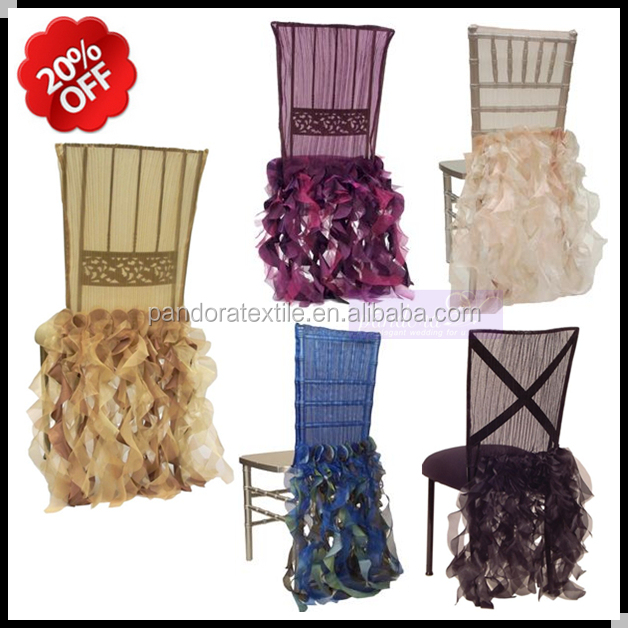 Fancy ruffled wedding chair covers elegant chair covers ruffle for wedding decoration curly willow chair sash