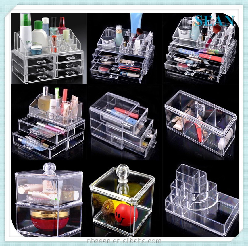 wholesale customed selling acrylic makeup organizer with drawer cosmetic display stand
