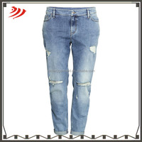wholesale women's 100% cotton denim destroyed ripped women jeans