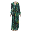 Guangzhou Factory Fancy Long Sleeve Lady Maxi Green Dress