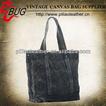 BUG hot sell vintage canvas denim hand shoulder beach bag for shopping