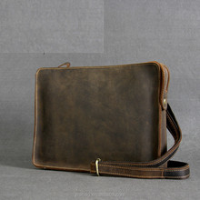 Crazy horse leather shoulder laptop bag