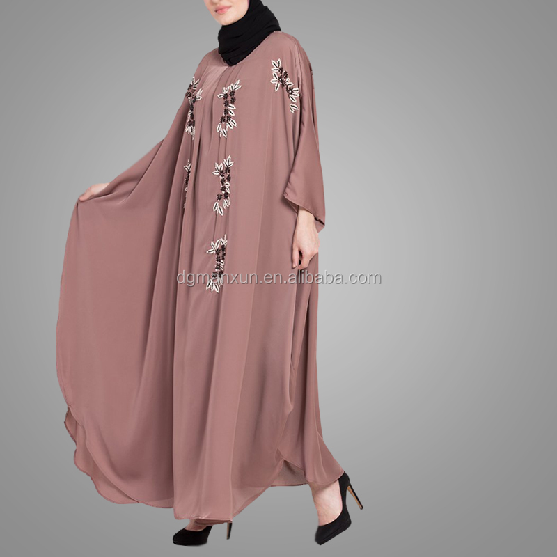 High Quality Fashion Dubai Style Embroidery Kaftan Dress Long Sleeve Turkey Islamic Clothing Abaya Factories