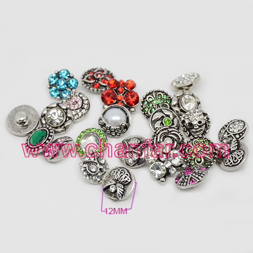 Hot sale 12mm crystal paved alloy snap button jewelry ,push button jewelry