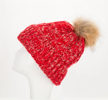 Detachable pompom hats chunky cable knit fashion ladies hat winter