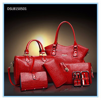 New arrival crocodile 6pcs sets patent leather lady shoulder handbag