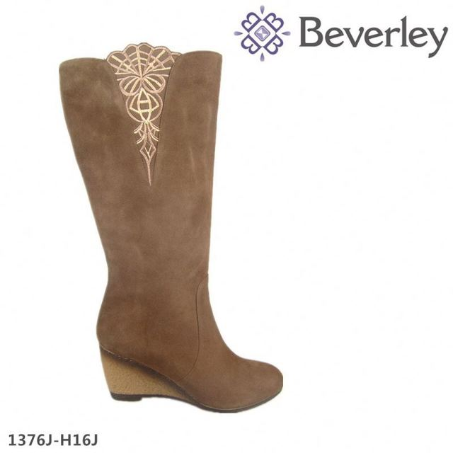 plus size brown suede leather wedge women pleaser boots