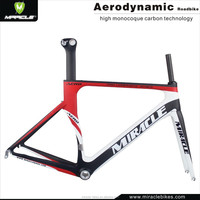 AERO Road Bicycle Carbon Frame/Fork/Seat Post/Clamp Miracle White Red Painting, Road Racing Bike Carbon Fiber Frameset 58CM OEM