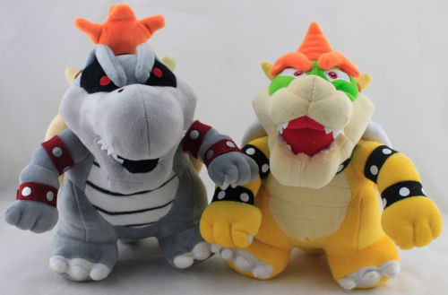 "2X Super Mario Bros. 11"" Koopa & Dry Bowser Bones soft cheap mario plush toys"