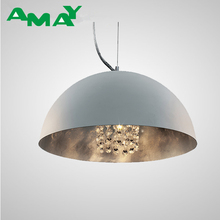 hot sale modern iron material silver finish pendant light with crystal decoration