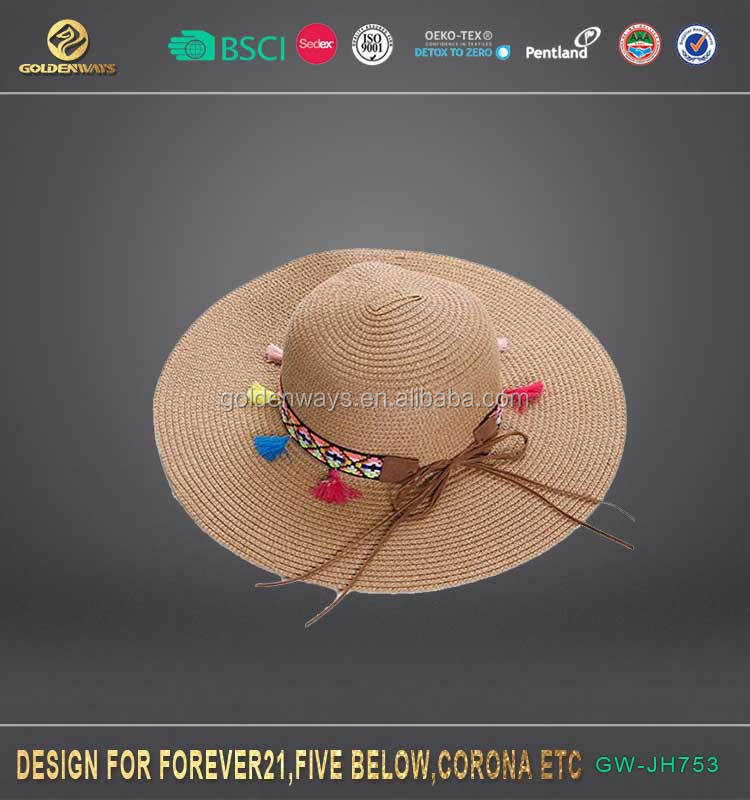Beach Straw summer floppy hat Women Sun Headwear chapeau femme