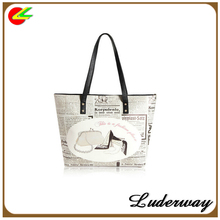 custom vintage style printing women leather tote bag