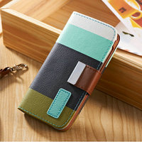 Double double PU leather cell mobile phone wallet bag case for Iphone 4 4S with card holder and slot