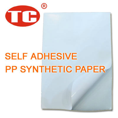 Self Adhesive PP White Matt Synthetic Paper 55 Microns