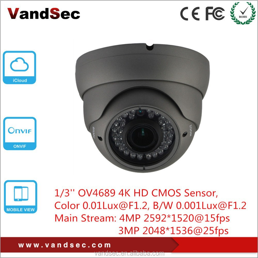 Vandsec New arrival 4mp H.265 Dome IP Camera Home Security 4mp Black Indoor CCTV Wireless IP Camera