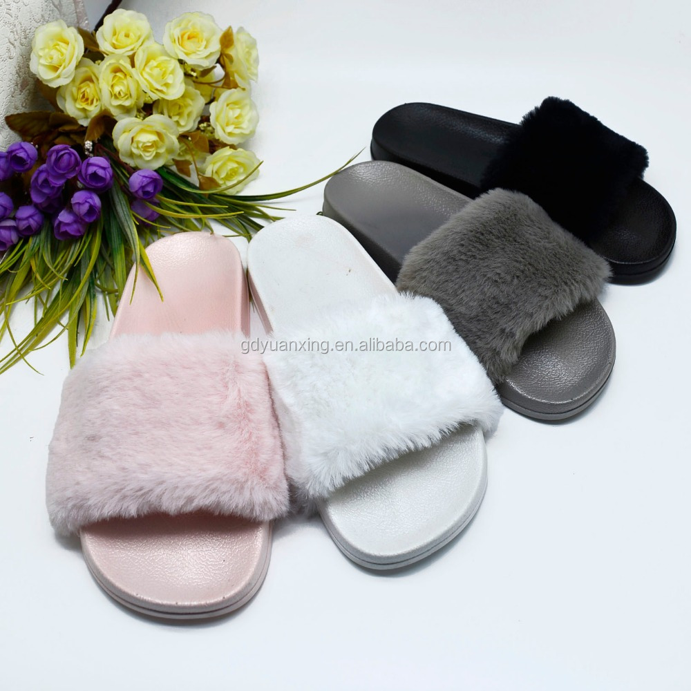 Hot Sell Women Slide Slipper PVC Plastic Women Plush Slipper
