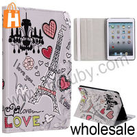 Red Hearts+Eiffel Tower Pattern Stand Folio Cover Leather Case for iPad Mini/Retina iPad Mini with Elastic Strap