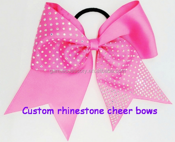 Sparking Cheerleading Rhinestone Bows With Elastic Band