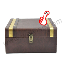 Imitation leather wine boxes brown leather boxes in lock design wine carrier embossed for gift