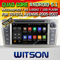 WITSON Android 5.1 CAR DVD PLAYER NAVIGATION For TOYOTA AVENSIS 2005-200 WITH CHIPSET 1080P 16G ROM WIFI 3G INTERNET DVR SUPPORT