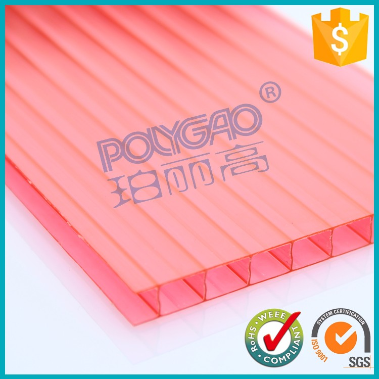 red poly carbonate makrolon hollow sun board sheets price