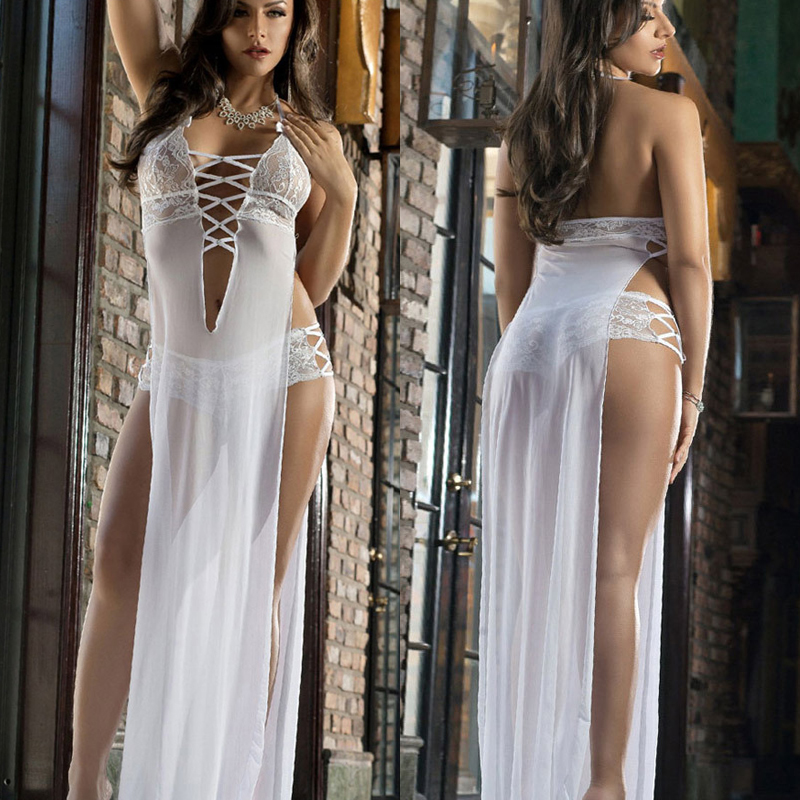 Erotic apparel women sex toy Exotic lingerie intimate sleepwear underwear gauze transparent split dress sexy lingerie