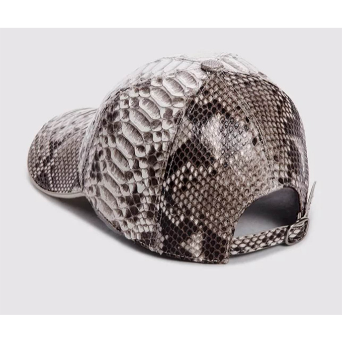 Genuine  Python Snake Skin Strapback Leather Sport Caps