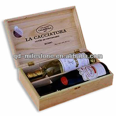Cute wood wine glass gift box