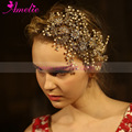 Luxurious Gold Color Headband Tiara Women Forehead Pearl Jewelry Hairband Floral Hair Ornaments Bride Gifts Wedding Accessories