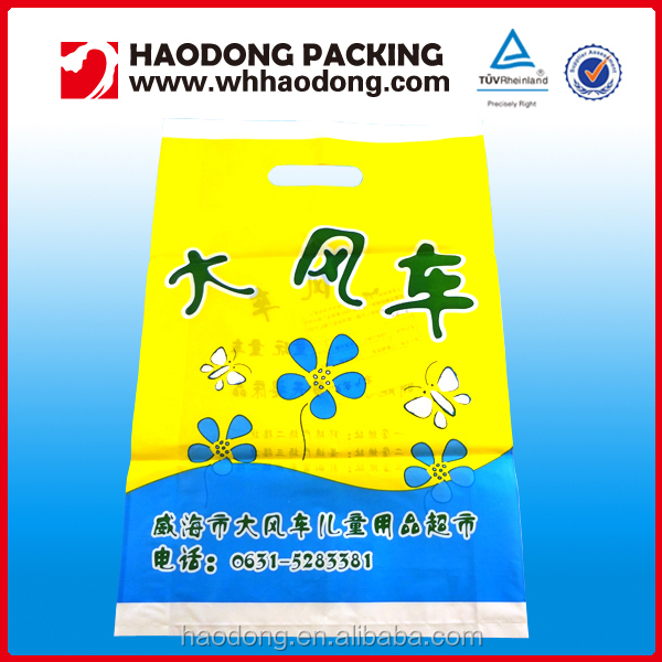 High Quality Manufacturer Supply Die Cut PE Plastic Shopping Bag