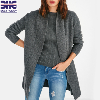Fashion Ladies Long Sleeve Shawl Collar Casual Wool Cashmere sweater Cardigan women Plus Size No Button