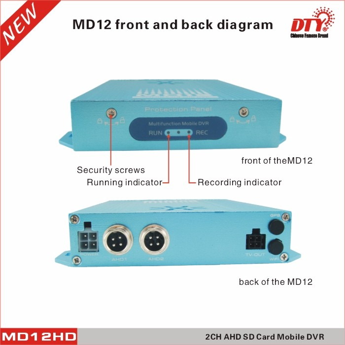 MD12G bus/taxi/truck high definition mini 2 channel car dvr, h.264 mobile dvr with 2 port