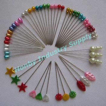 Wholesale various head shape assorted colors pearl head straight pins