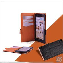 leather hard case for huawei ascend p6 Wallet Book Case Cover with Credit / Business Card Holder P-HUWEIP6CASE006