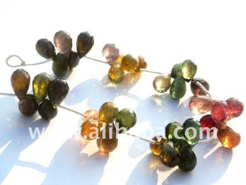 WATERMELON TOURMALINE FACETED DROPS SEMI PRECIOUS GEMSTONE BEADS AND BRIOLETTES