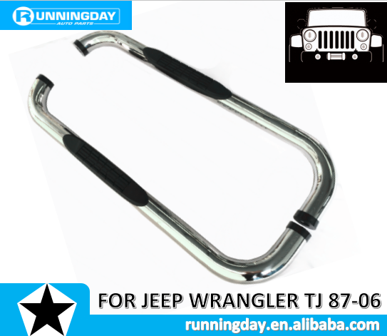 "3"" S/S POLISHED SIDE BAR FOR JEEP WRANGLER TJ 87-06"